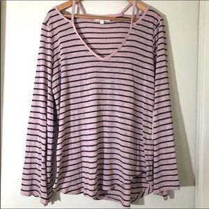 TWO by VINCE CAMUTO pink & gray striped top